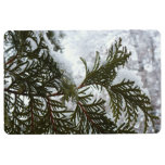 Snow on Evergreen Branches Winter Nature Photo Floor Mat