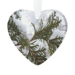 Snow on Evergreen Branches Winter Nature Photo Ornament