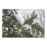 Snow on Evergreen Branches Winter Nature Photo Pillow Case