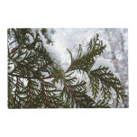 Snow on Evergreen Branches Winter Nature Photo Placemat