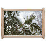 Snow on Evergreen Branches Winter Nature Photo Serving Tray