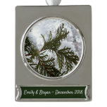 Snow on Evergreen Branches Winter Nature Photo Silver Plated Banner Ornament
