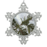Snow on Evergreen Branches Winter Nature Photo Snowflake Pewter Christmas Ornament