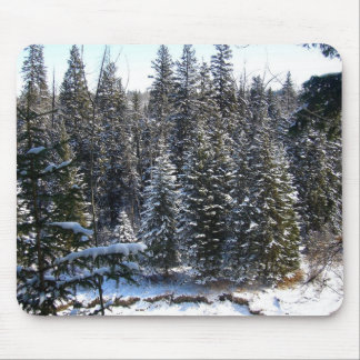 Snow on Evergreens Mouse Pad