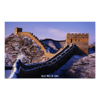 Snow on Great Wall of China Poster