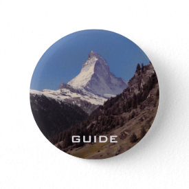Snow on Matterhorn Blue Sky Alpine Forest Button button