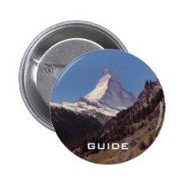 Snow on Matterhorn Blue Sky Alpine Forest Button at Zazzle