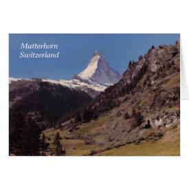 Snow on Matterhorn Blue Sky Alpine Forest Card card