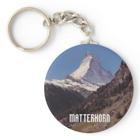 Snow on Matterhorn Blue Sky Alpine Forest Keyring keychain