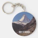 Snow on Matterhorn Blue Sky Alpine Forest Keyring Basic Round Button Keychain