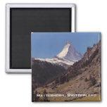 Snow on Matterhorn Blue Sky Alpine Forest Magnet