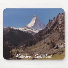 Snow On Matterhorn Blue Sky Alpine Forest Mousepad at Zazzle
