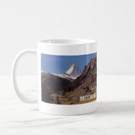 Snow on Matterhorn Blue Sky Alpine Forest Mug mug