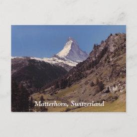 Snow on Matterhorn Blue Sky Alpine Forest Postcard postcard