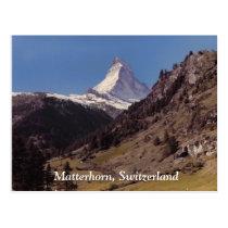 Snow on Matterhorn Blue Sky Alpine Forest Postcard at Zazzle