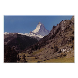 Snow on Matterhorn Blue Sky Alpine Forest Poster print