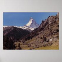 Snow on Matterhorn Blue Sky Alpine Forest Poster at Zazzle