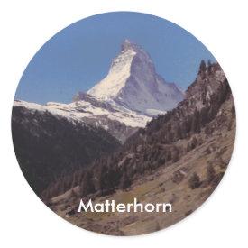 Snow on Matterhorn Blue Sky Alpine Forest Sticker sticker