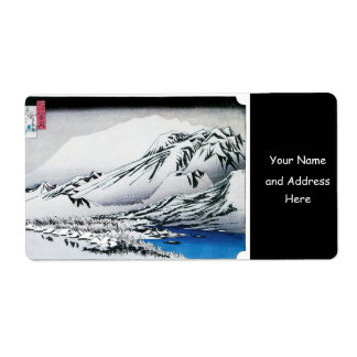 Snow on Mount Hira, Japan. Circa 1834-35 Label