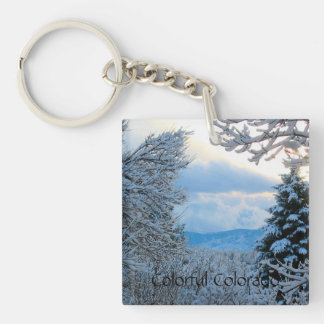 Snow on Pine Trees in Colorado Rocky Mountains Keychain