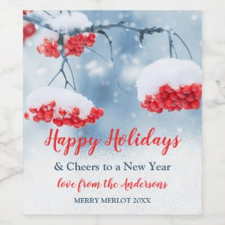 Snow on Red Festive Berries Christmas Wine Label