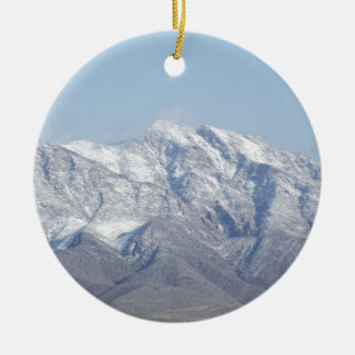 Snow on the Desert Mountains Ceramic Ornament