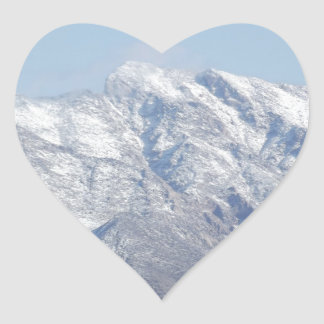 Snow on the Desert Mountains Heart Sticker