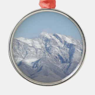 Snow on the Desert Mountains Metal Ornament