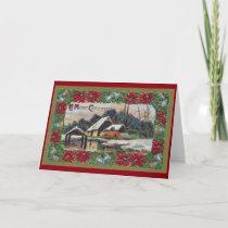 Snow on the Farm Vintage Christmas Holiday Card