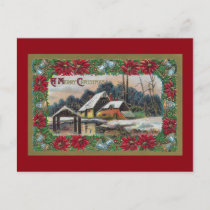 Snow on the Farm Vintage Christmas Holiday Postcard