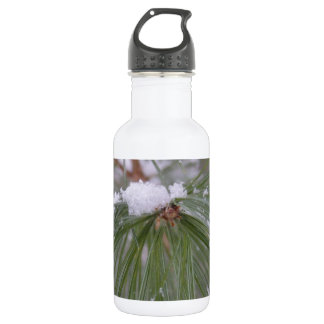 Snow on the Pine Needles Stainless Steel Water Bottle
