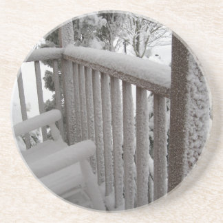 Snow on the Porch Drink Coaster
