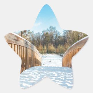 Snow on wooden bridge in forest star sticker