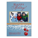 Snow Ornaments Family Holiday Card (blue)