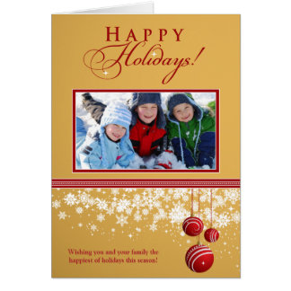Snow Ornaments Family Holiday Card (gold)