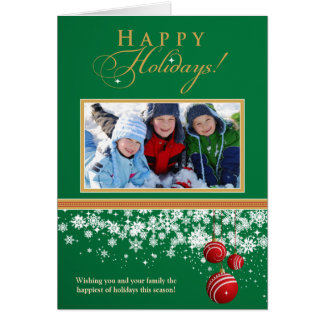 Snow Ornaments Family Holiday Card (green)