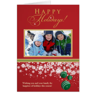 Snow Ornaments Family Holiday Card (red)