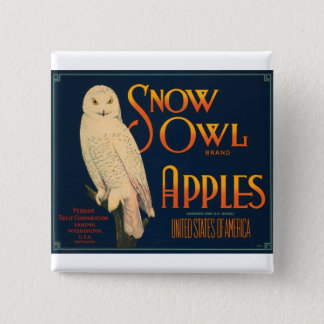 Snow Owl Brand Apples Button