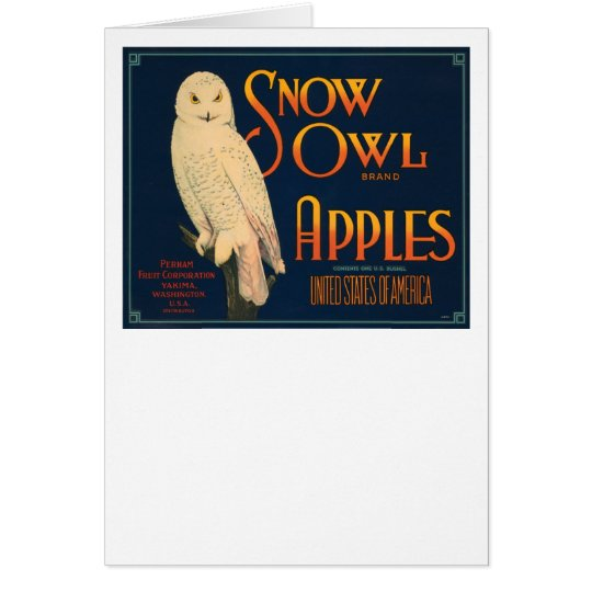Snow Owl Brand Apples Card