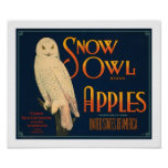Snow Owl Brand Apples Poster