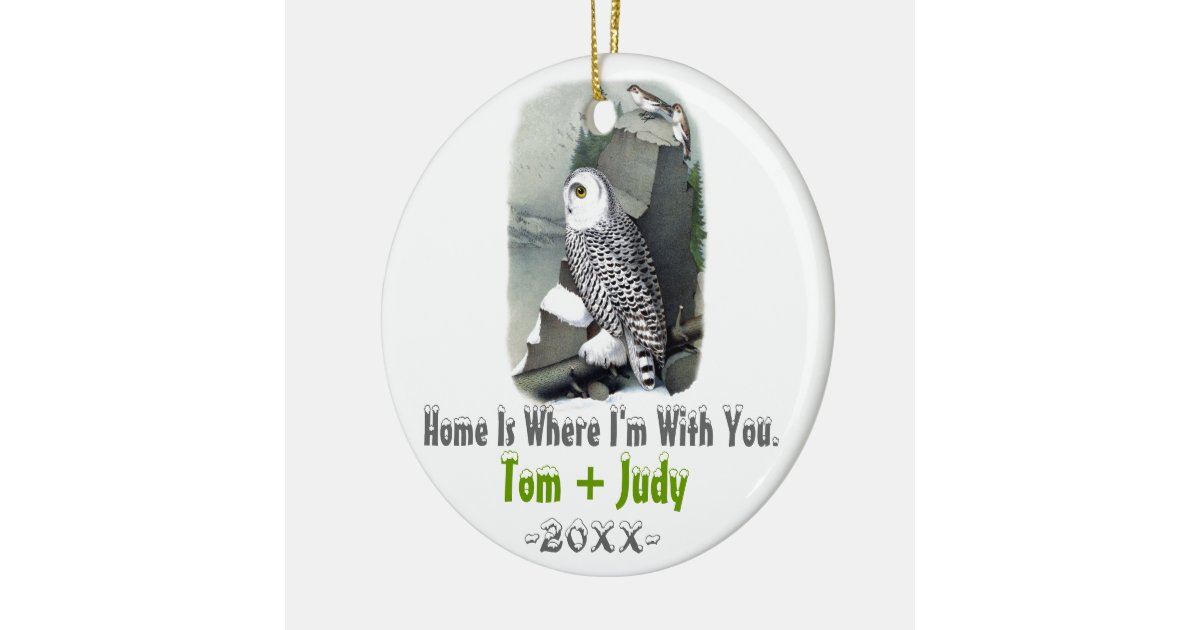 Snow Owl First Christmas As Mr Amp Mrs Ornament Zazzle