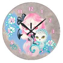 Snow Owl Friend Large Clock