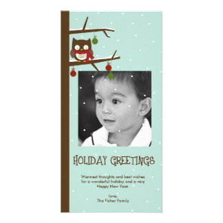 Snow Owl Holiday Photo Card Photo Greeting Card
