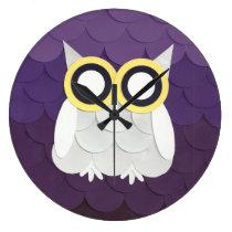 Snow Owl Large Clock
