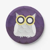 Snow Owl Paper Plate