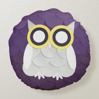Snow Owl Round Pillow