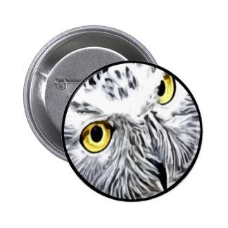 Snow Owl yellow eyes 2 Inch Round Button