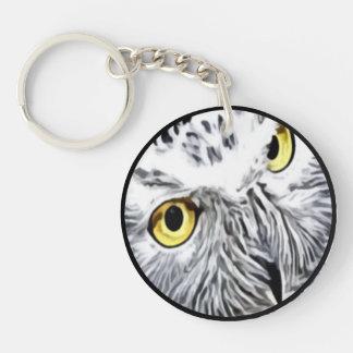 Snow Owl yellow eyes Keychain
