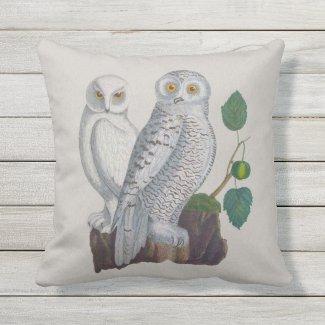 Snow Owls Arctic Conservation Outdoor Pillow 16x16