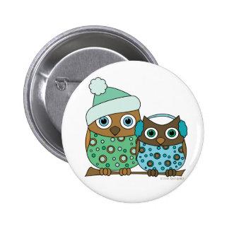 Snow Owls Pinback Button